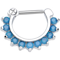 "16 Gauge 5/16"" Brilliant Blue Zircon Faux Opal Septum Clicker 