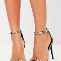 Missguided - Nude Snakeskin Effect Rounded Strap Barely There Heels
