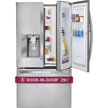 LG - 28.6 Cu. Ft. French Door Refrigerator with Thru-the-Door Ice and Water - Stainless-Steel