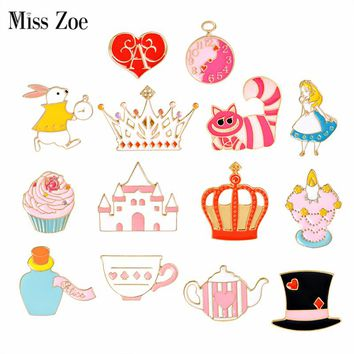 Miss Zoe Fairy Tale Alice's Adventures in Wonderland Brooches Button Pins Denim Jacket Pin Badge Jewelry Gift for Kids Girls