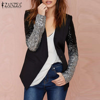 New Zanzea 2016 Autumn Women Jacket Coat Work Blazers Suit Long Sleeve Lapel Silver Black Sequins Elegant Ladies Blazer feminino