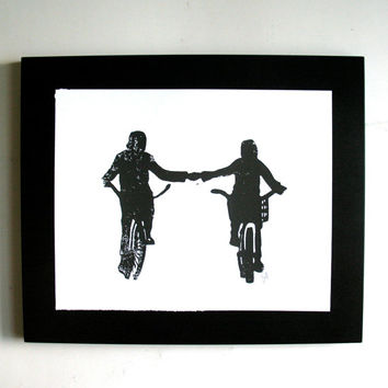LINOCUT PRINT - Holding hands LETTERPRESS black bicycle poster 8x10 lovers on bikes