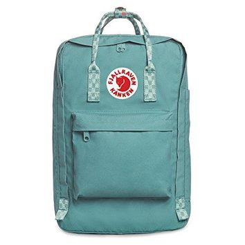 "Fjallraven - Kanken Laptop 17"" Bag, Heritage and Responsibility Since 1960, Frost Green-Chess Pattern"