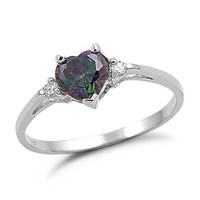 Heart Shaped Simulated Rainbow Topaz Silver Ring