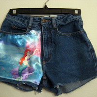 Little Mermaid High  Waisted Shorts CUSTOM ORDER by wildblacksheep