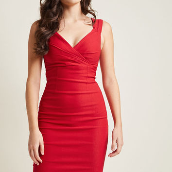 Lady Love Song Sheath Dress in Ruby