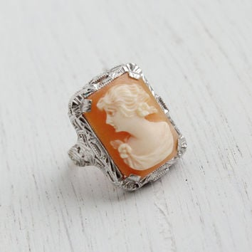 Antique 10K White Gold Art Deco Cameo Ring - Vintage 1930s Floral Filigree Carved Shell Fine Jewelry / Lady Silhouette