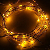 BZONE 10ft 30 Leds Yellow LED Strings Silver Coated Copper Wire Battery Powered LED Starry Light Decorative Lights