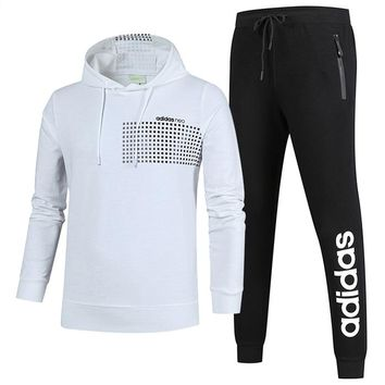 ADIDAS autumn and winter new casual sportswear outdoor running clothes two-piece suit White