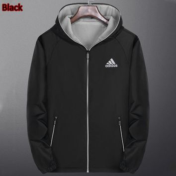 ADIDAS 2018 autumn and winter new women's fashion long-sleeved cardigan hooded trench coat black