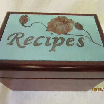 Wood Recipe Box, Porcelain Tile Aqua Blue and red Brown Poppy Flowers, Ceramic Pottery Tile, Handmade Hand painted tile