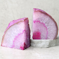 Read the Runes Pink Agate Bookends