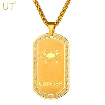 U7 Zodiac Signs Necklace For Men/Women Best Friend Dog Tags Birthday Gift Gold Color Stainless Steel Cancer Constellations P693
