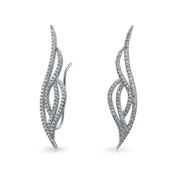 Bride Pave CZ Crawlers Ear Pin Climbers Earrings 925 Sterling Silver