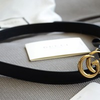 Original Gucci MINI GG Gold Buckle Black Leather Belt size 90/36 fits 30-32