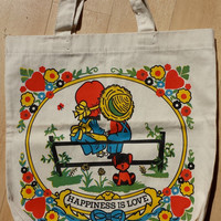 Adorable VINTAGE Grocery Tote // Lovebirds CUTE
