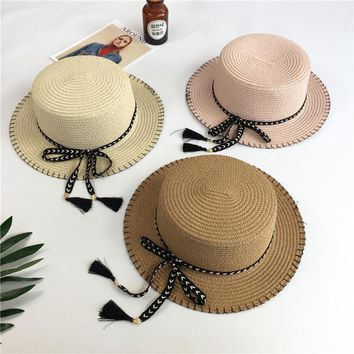 Tassel butterfly wild straw hat Girl summer beach sun hat Female British small hat