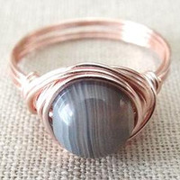 Botswana Agate ring - grey stone ring - grey Agate ring - simple ring - cute ring - wire wrapped jewelry handmade - rose gold ring