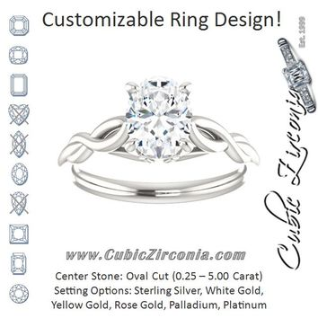 Cubic Zirconia Engagement Ring- The Diamond (Customizable Oval Cut Solitaire with Braided Infinity-inspired Band and Fancy Basket)