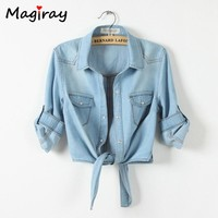 Magiray Harajuku Bow Tie Knot Front Denim Blouse Women 2018 Summer Crop Top Female Korean Casual Shirt Jeans Half Sleeve C352