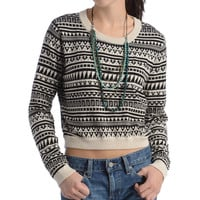 BCBG Cropped Jacquard Sweater