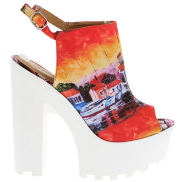 Multicolored Chunky Heeled Lug Sole Sandals
