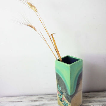 Vintage ceramic vase, vintage Greek pottery, slip cast modern vase in gery green, tall, four sided vase, rustic Greek vase, late eighties
