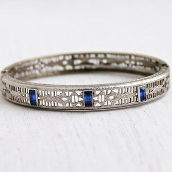 Antique Art Deco Sapphire Blue Stone Filigree Bracelet - Vintage 1920s Rhodium Plated Silver Tone Hinged Bangle Jewelry / Deep Blue Baguette