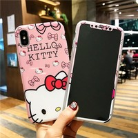 For iPhone X Kitty Case + Tempered Glass Screen film , Cartoon Cute Hello kitty TPU Lover Cover for iPhone X 5.8inch