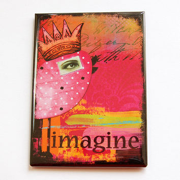 Large Magnet, Magnet, Fridge magnet, Kitchen magnet, ACEO, stocking stuffer, Imagine, Pink, Bird, bright colors (4442)