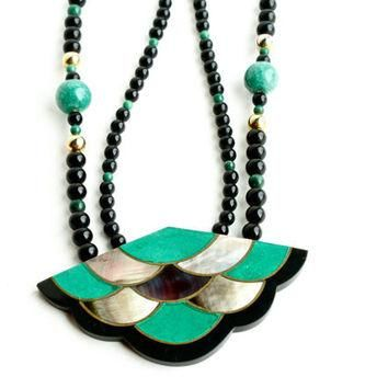 Vintage Bea Necklace - Designer Signed Karla Jordan Beaded Abalone, Onyx, Green Stone