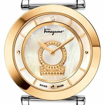 Women's Salvatore Ferragamo 'Minuetto' Bracelet Watch, 36mm - Silver/ Gold