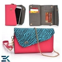 HOT PINK & SKY BLUE ZEBRA | Universal Women's EPI Leather Wallet Phone Bag with Wrist Strap Shoulder Purse fits LG Optimus F7 Case. Bonus Ekatomi Screen Cleaner