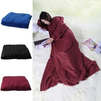 Super Soft Microplush Wearable Fleece Blanket with Sleeves and Sofa Throw Robe for Women and Men SZ