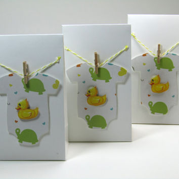 12 Unique Onesuit White Bags with Rubber Duck Baby Shower Favors–Boy or Girl Baby Shower-Yellow Baby Shower-Gender Revealed-Thank you favors
