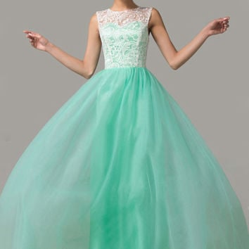 Cap Sleeves Mint Green Lace Long Prom Dresses ED0861