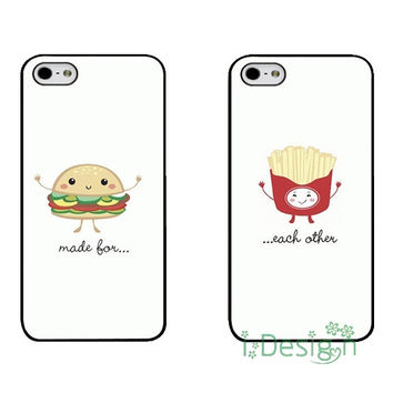 Fit for iPhone 4 4s 5 5s 5c se 6 6s 7 plus ipod touch 4/5/6 cellphone case cover Best Friends Hamburg And Fries Matching Couple