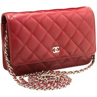 CHANEL 2014 Red Wallet On Chain WOC Shoulder Bag Crossbody Clutch