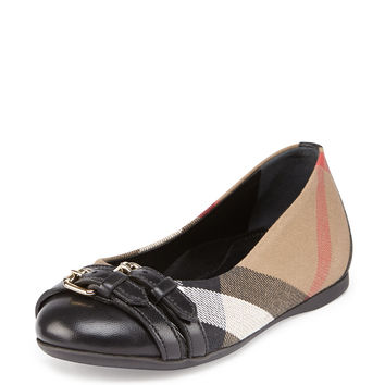 Girls' Check Cap-Toe Ballet Flat, Youth - Burberry