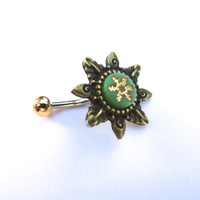 Green Tribal Starburst Belly Button Ring Navel Piercing Bronze Sun Snowflake Stud Bar Barbell Star Burst Green Gold Bronze
