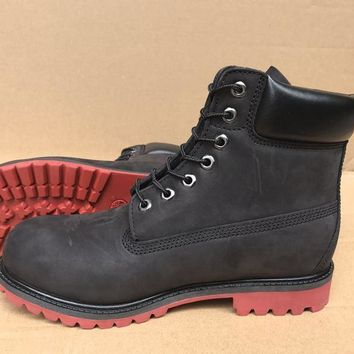 Timberland Rhubarb Boots 10061 High Tops Black Red For Women Men Shoes Waterproof Martin Boots