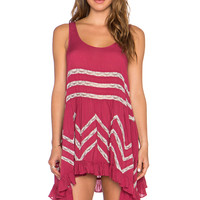 Free People Trapeze Slip Dress in Blossom Pink Combo