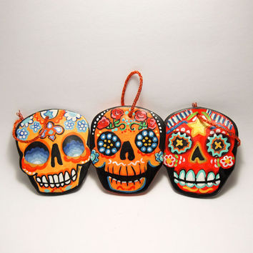 Trippy Tree ornaments Day of the Dead Handmade Clay Sugar Skull Decorations by designer Bones Nelson