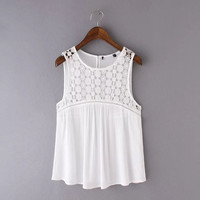 Sleeveless Cut Out Lace  Insert Camis
