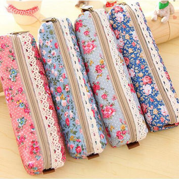 1pcs lot Fashion Mini Retro Flower Floral Lace Pencil case pen bag Multi-Function Zipper Pencil Holder Bag Gift Stationery
