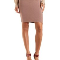Ribbed Bodycon Pencil Skirt by Charlotte Russe - Taupe