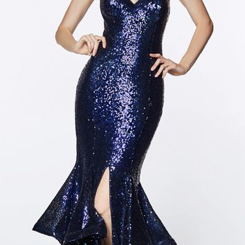 Long Sequin Sheath Mermaid Prom Gown Navy Blue Strapless