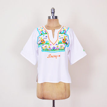 Mexican Shirt Mexican Top Mexican Blouse Mexican Tunic Mexican Embroider Shirt Embroider Top Embroider Blouse 70s Hippie Top Boho Top S M