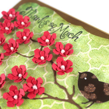 Thank you card, Thanks so much, Bird Card, Red Flowers