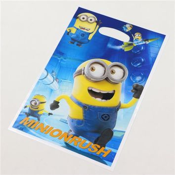 Handle Candy Plastic Loot Bags Kids Favors Minions Gift Bag Baby Shower Supplies 10pcs\lot